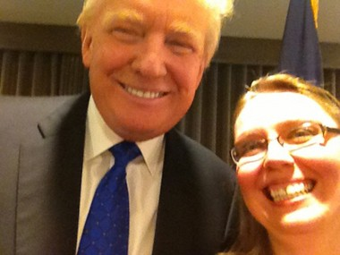 Natalie Zaccaria, wife of Assembly candidate Rick Zaccaria, took a selfie with Donald Trump at the Doubletree in DeWitt.