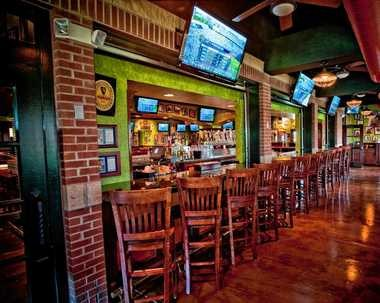 A view of the bar at a Tilted Kilt.
