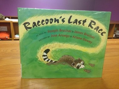 """Jeff Bidwell's fifth graders at Willow Field Elementary School are trying to save the book """"Raccoon's Last Race,"""" by Joseph Bruchac and Jim Bruchac."""