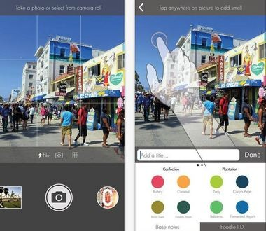 """The """"oSnap"""" app for iPhone lets oPhone users take photos, add text, and tag them with different scents, which will be emitted by the oPhone."""