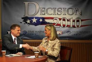 U.S. Rep. Dan Maffei and his challenger Republican candidate Ann Marie Buerkle held one of their series of debates at Time Warner Cable October 13, 2010.