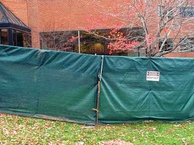 SU student Laura Cohen took this photo of a barrier erected outside Crouse-Hinds Hall, where student protesters are staying as part of a sit-in. The barrier blocks the public's view from the sit-in.