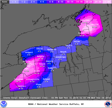 Some parts of Tug Hill could get more than 2 feet of snow, according to the National Weather Service.