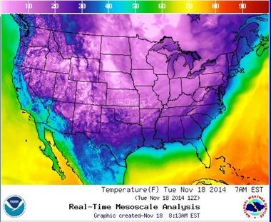 More than 80 percent of the United States had freezing temperatures this morning.