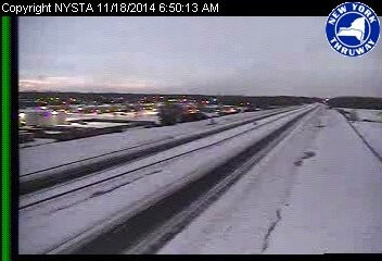 The Thruway empty near Buffalo Niagara International Airport. The Thruway is closed is closed in both directions due to a lake effect snowstorm.