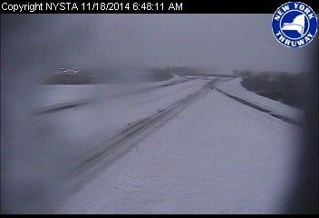 The New York State Thruway near LeRoy, southwest of Rochester. The highway is closed in both directions due to a lake effect snowstorm.