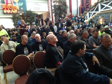 Turning Stone Resort Casino employees and others gather for a news conference today.