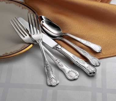 "Marketing photo shows Sherrill Manufacturing's ""Sheffield"" silverware, part of the company's new, bridal-quality LUX line of silverware."