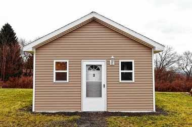 This is a 16- by 20-foot home at Second Wind Cottages, a Tompkins County initiative to shelter homeless men.