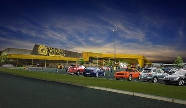 A rendering of what the exterior of the new Yellow Brick Road casino will look like.