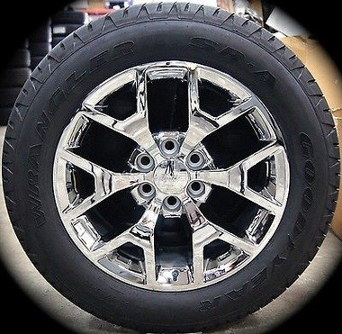 The Cayuga County Sheriff's Office is investigating the theft of eight tires and rims stolen from two 2015 GMC pickup trucks at Summit Chevrolet Buick GMC in Sennett. This image shows the same 20-inch model taken during the thefts.