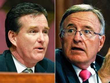 New York State Senators John Flanagan, left, John DeFrancisco, right, are vying to become the next Senate majority leader. The Senate Republican caucus will meet May 11, 2015 in Albany, N.Y. to try to pick a successor to arrested Majority Leader Dean Skelos. Flanagan is from East Northport, on Long Island. DeFrancisco is from Syracuse.