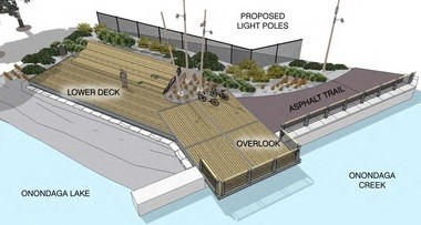 A conceptual rendering of the Onondaga Lake Lounge observation area being planned for the south end of the lake.