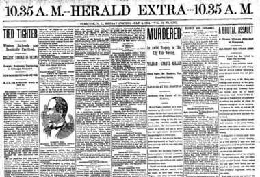 The Syracuse Evening Herald put out an extra edition on the morning of July 2, 1894. Henry Vogler fatally shot William Strutz on Pearl Street in Syracuse that day and then killed himself.