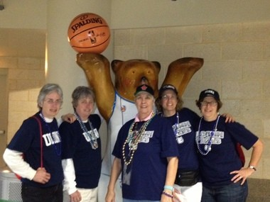 Helen White, (from left to right) Diane Raab, Barbara Pfefferle, Terri White deBerjeois and Geri White pose for a photo at the NCAA Women's Final Four in New Orleans in 2013.
