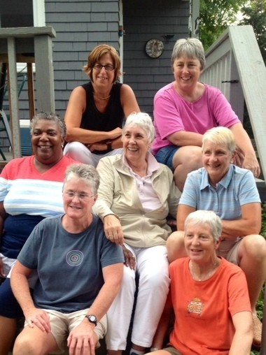 Barbara Pfefferle (middle) and her former students (first row, from left to right) Mary Austin, Karen Klym, (second row) Ruby Black, Mary Read, (third row) Geri White and Diane Raab.
