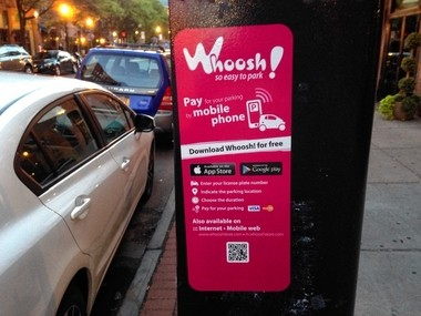 This parking station on Franklin Street in Armory Square carries a label for Whoosh!, a smart phone app introduced last year in Syracuse. Technical difficulties recently disrupted Whoosh at 49 of the city's 280 pay stations.