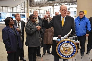 Sen. Charles Schumer held a press conference at the Centro bus terminal Monday Nov. 30, 2015 to talk about restoring possible funding cuts to the bus service. Schumer pulled his keys out of his pocket to make a point about the federal government handing the keys back to Centro.