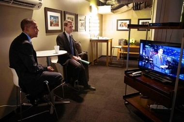 President Barack Obama waits backstage with Principal Deputy Press Secretary Eric Schultz prior to the president's appearance on a Jimmy Kimmel Live show in Los Angeles, March 12, 2015. (Official White House Photo by Pete Souza)
