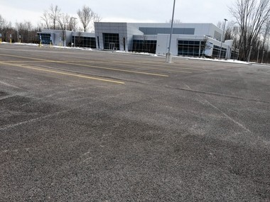 The parking lot at the Central New York film hub is empty most days, as it was this day in March 2016.