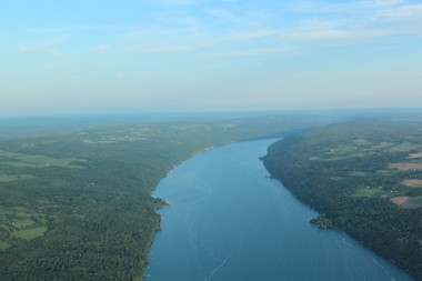 An aerial view of Skaneateles Lake, looking south.