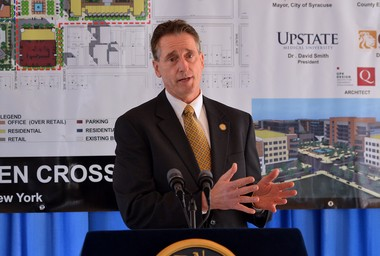 New York Lt. Gov. Robert Duffy talks at a December 2011 news conference about a partnership between Upstate Medical University and Cor Development Co. to develop the Kennedy Square area.