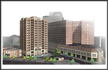 A rendering of the future Hyatt Hotel adjacent to the Hotel Syracuse