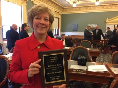 The Onondaga County Legislature presented Kathy Rapp a plaque to commemorate her 18 years in office.