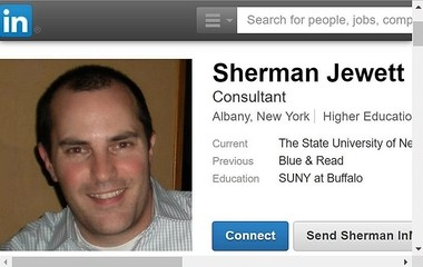 This screenshot shows a LinkedIn page for Sherman Jewett, who currently works as a PR consultant for the city of Syracuse.
