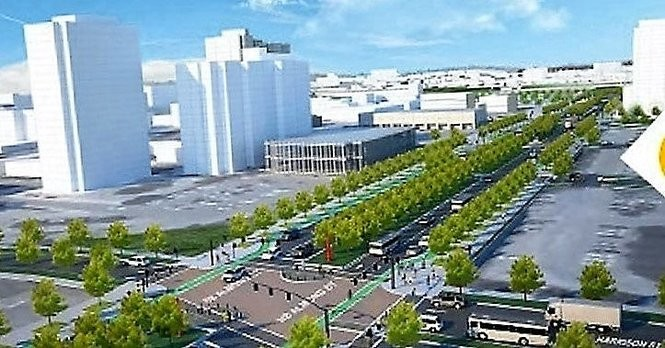 Rendering shows what a street-level replacement of the raised portion of Interstate 81 through Syracuse would look like.