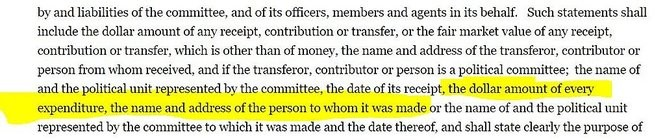 NY election law requires disclosure of the names and addresses of people who are paid by campaign committees.