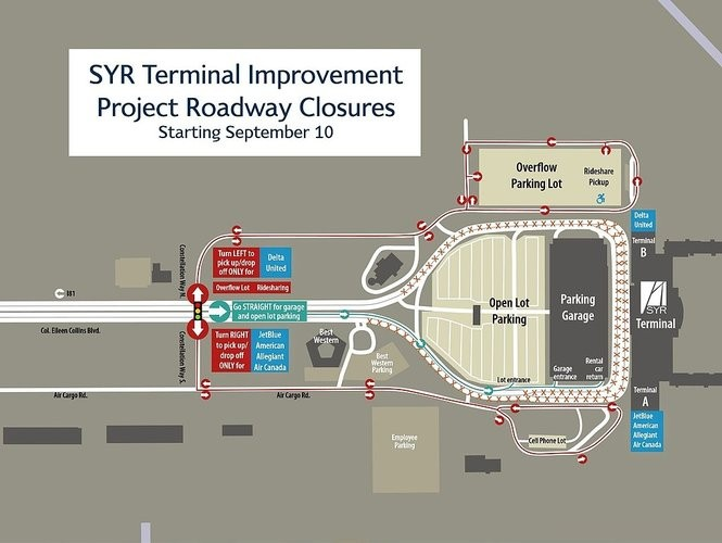 Map shows roadway closures for a multi-phase, $45 million upgrade to the passenger terminal at Syracuse Hancock International Airport.