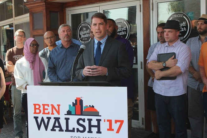 """Ben Walsh speaks at a """"Dems for Ben"""" press event in front of Westcott Theater on Westcott Street, Thursday, Sept. 21, 2017."""