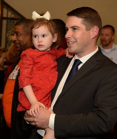 Ben Walsh with his daughter Gabrielleat the Marriott Syracuse Downtown, Tuesday, Nov. 7, 2017.