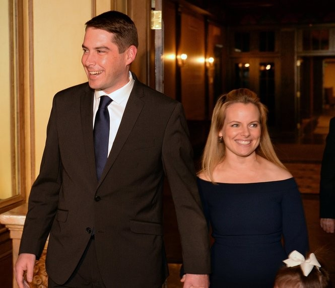 Ben Walsh and his wife, Lindsay, enter the grand ballroom of the Marriott Syracuse Downtown on election night, Tuesday, Nov. 7, 2017.