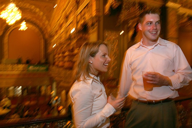 Lindsay and Ben Walsh socialize at the 40 Below After Party at the Landmark Theater in 2005.