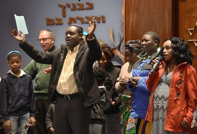 Members of the Congolese congregation at All Saints Catholic Church sing at the 8th Annual World InterFaith Harmony Assembly at Congregation Beth Sholom-Chevras Shas.