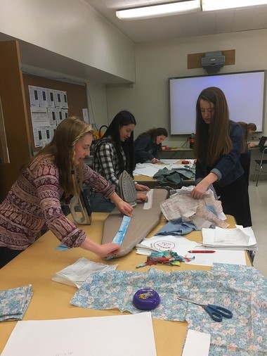 Students from Marcellus School District help sew Boomerang Bags for shoppers at Nojaim Brothers grocery store to use in place of plastic bags. These sewing bees are part of a community-wide effort to limit the use of single-use plastic bags in Marcellus.