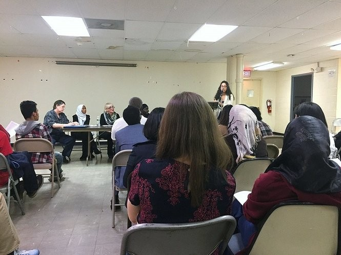 Henninger Senior Jessica Almarales Rodriguez speaks about why she is opposed to a new charter school focused on agriculture and designed in part for refugees. About 40 to 50 people attended a meeting about OnTECH Charter High School. Many questioned the need for OnTECH.