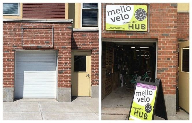 "A utility room with a garage door, left, was converted into the Mello Velo ""commuter hub'' in 2014, right, at Copper Beech Commons. The commuter hub closed after about a year."