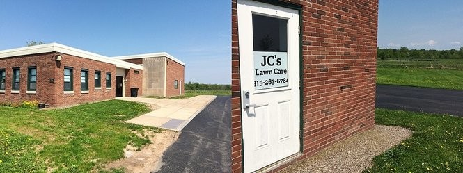 Greenview Apartments, a converted school building in rural Schroeppel, qualifies for a mixed-use tax exemption by renting a small office to JC's Lawn Care.