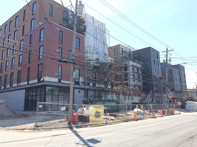 The 505 on Walnut is among three large student apartment complexes going up on the sites of buildings that were demolished.