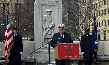 Deputy Chief Stephen Cavuto speaks at he Collins Block Memorial Ceremony, Tuesday, Feb. 3, 2015.