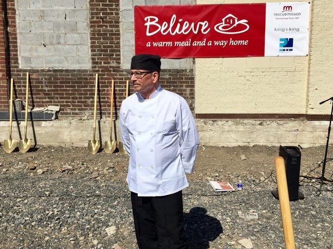 Michael Del Priore, a graduate of the Rescue Mission's culinary training program, stands in the footprint of a bigger space for that program and for dining at the Rescue Mission.