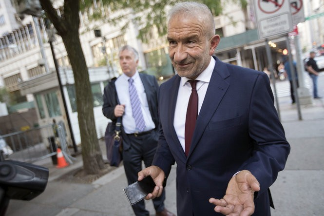 """Alain Kaloyeros, foreground, leaves Manhattan federal court Thursday, July 12, 2018 after a jury convicted him and three other defendants of corruption in Gov. Andrew Cuomo's """"Buffalo Billion"""" economic redevelopment program."""