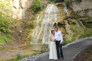 Allie and Travis Drexler were married at the base of the lower falls in early August.