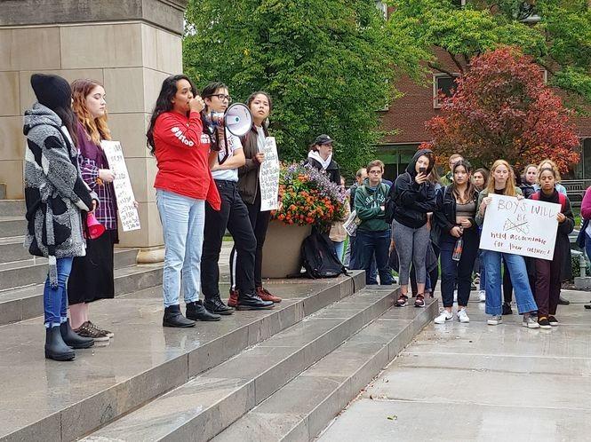 Students gathered outside Hendricks Chapel at noon on Thursday, Oct. 4, 2018.