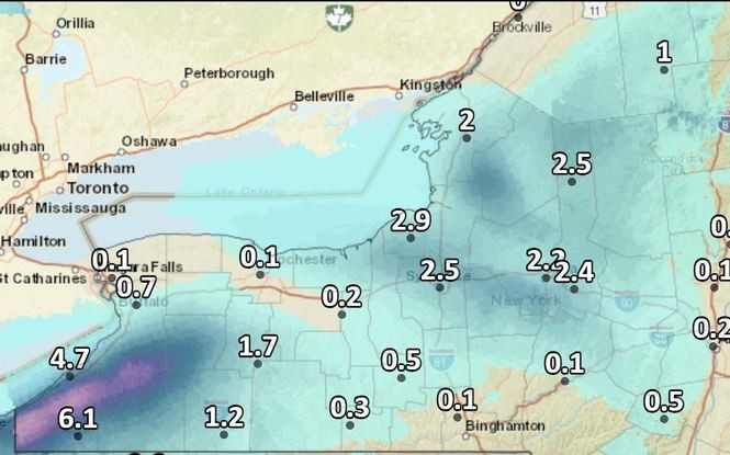 Expected snowfall in Upstate New York through Sunday afternoon.