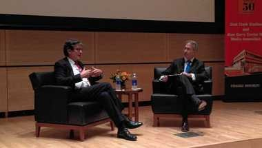 Alan Rusbridger (left), editor-in-chief of The Guardian, is interviewed by Roy Gutterman (right), executive director of the Tully Center for Free Speech at Syracuse University, Wednesday, Oct. 1, 2014, at the Newhouse school on campus. Rusbridger accepted the Tully Free Speech Award for publlishing NSA whistleblower Edward Snowden's revelations about NSA spying.