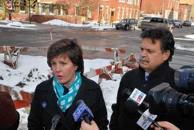 Syracuse Mayor Stephanie Miner and New York state Assemblyman Felix Ortiz hold a press conference Feb. 28, 2014, at Montgomery and Water streets, talking about city infrastucture.